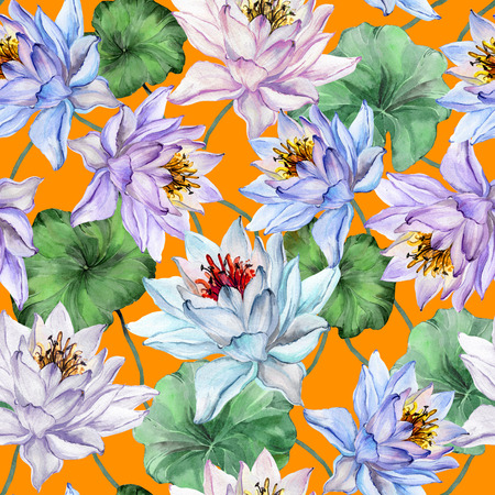 Beautiful floral seamless pattern. Large lotus flowers with stems and leaves on bright orange background. Hand drawn exotic illustration. Watercolor painting. Design of textile or wallpaper.