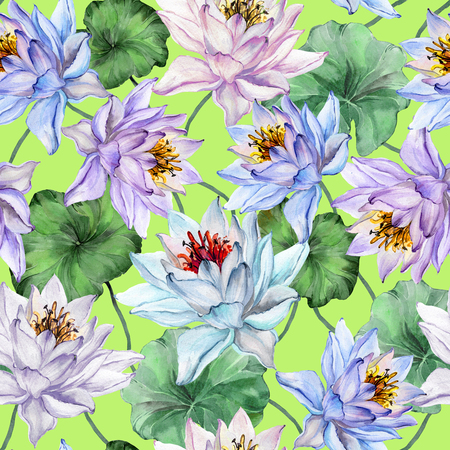 Beautiful tropical seamless pattern. Large lotus flowers with leaves and stems on bright green background. Hand drawn illustration. Watercolor painting. Design of textile or wallpaper.