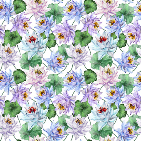Exotic seamless pattern. Beautiful lotus flowers with green leaves on white background. Hand drawn illustration. Watercolor painting. Design of textile or wallpaper.  Stock Photo