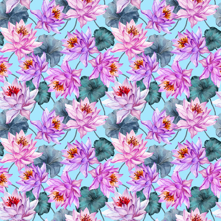 Bright exotic seamless pattern. Pink and lilac lotus flowers on light blue background. Hand drawn illustration. Watercolor painting. Design of textile or wallpaper.