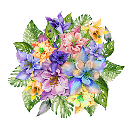 Beautiful tropical flowers (colorful aquilegia with buds and monstera leaves). Bunch of columbine flowers and exotic leaves isolated on white background. Watercolor painting. Hand drawn illustration.  Stock Photo