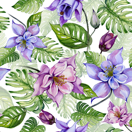 Beautiful columbine flowers or aquilegia and exotic monstera leaves on white background. Watercolor painting. Tropical seamless floral pattern. Hand drawn illustration.