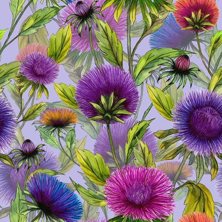 Beautiful aster flowers in different bright colors with green leaves on light lilac background. Seamless floral pattern. Watercolor painting. Hand drawn illustration. Design for fabric or wallpaper.