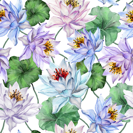 Beautiful floral seamless pattern. Large blue and purple lotus flowers with leaves on white background. Hand drawn illustration. Watercolor painting. Design of textile or wallpaper.