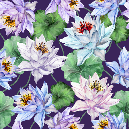 Exotic floral seamless pattern. Large blue, pink and lilac lotus flowers with green leaves on dark purple background. Hand drawn illustration. Watercolor painting. Design of textile or wallpaper.  Stock Photo