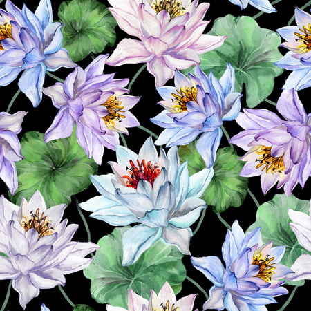 Beautiful exotic floral background. Seamless pattern. Large light lotus flowers with green leaves on black background. Hand drawn illustration. Watercolor painting. Design of textile or wallpaper.