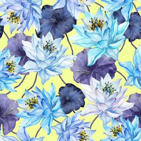 Beautiful floral seamless pattern. Large blue lotus flowers with purple leaves. Exotic background. Hand drawn illustration. Watercolor painting. Design of textile or wallpaper.