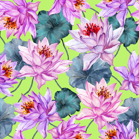 Exotic floral seamless pattern. Large pink lotus flowers with stems and leaves on bright green background. Hand drawn illustration. Watercolor painting. Design of textile or wallpaper.