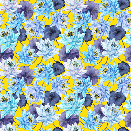 Beautiful bright floral seamless pattern. Blue lotus flowers with purple leaves on yellow background. Hand drawn illustration. Watercolor painting. Design of textile or wallpaper.