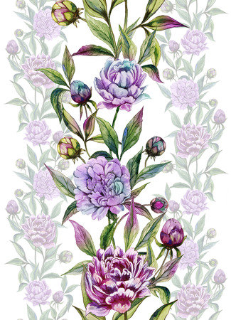Beautiful peony flowers with buds and leaves in straight lines on white background. Seamless floral pattern. Watercolor painting. Hand drawn illustration. Design of fabric, wallpaper.