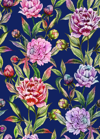 Beautiful peony flowers with buds and leaves in straight lines on deep blue background. Seamless floral pattern. Watercolor painting. Hand drawn illustration. Design of fabric, wallpaper. Stock Photo