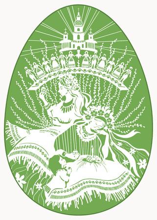 Pâques, de belles femmes en costumes nationaux peignent des ?ufs et se préparent pour la célébration de Pâques. Illustration vectorielle. Oeuf de Pâques vert avec dessin blanc. Vytynanka traditionnelle ukrainienne. Banque d'images - 97794493