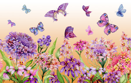 Summer wide banner. Vivid iberis flowers and colorful butterflies on orange background. Seamless panoramic floral pattern. Watercolor painting. Hand painted illustration. Design for fabric, wallpaper. Stock Photo