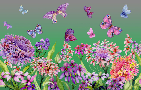 Summer wide banner. Beautiful vivid iberis flowers and colorful butterflies on green background. Horizontal template. Seamless panoramic floral pattern. Watercolor painting. Hand painted illustration.