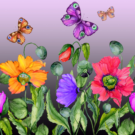 Vivid summer background. Beautiful colorful poppy flowers and flying butterflies on purple background. Square shape. Seamless floral pattern. Watercolor painting. Hand painted illustration.