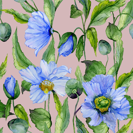 Beautiful blue poppy flowers with green leaves on gray background. Seamless floral pattern. Watercolor painting. Hand painted illustration. Fabric, wallpaper, wrapping paper design.