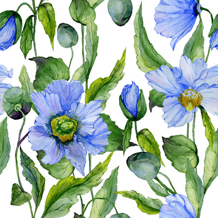 Beautiful blue poppy flowers with green leaves on white background. Seamless floral pattern. Watercolor painting. Hand painted illustration. Fabric, wallpaper, wrapping paper design.