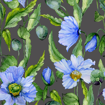 Beautiful blue poppy flowers with green leaves on dark gray background. Seamless floral pattern. Watercolor painting. Hand painted illustration. Fabric, wallpaper design.