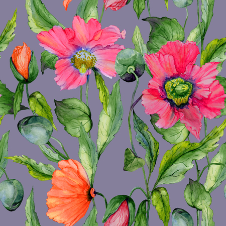 Beautiful red poppy flowers with green leaves on gray background. Seamless floral pattern. Watercolor painting. Hand painted illustration. Fabric, wallpaper, wrapping paper design.