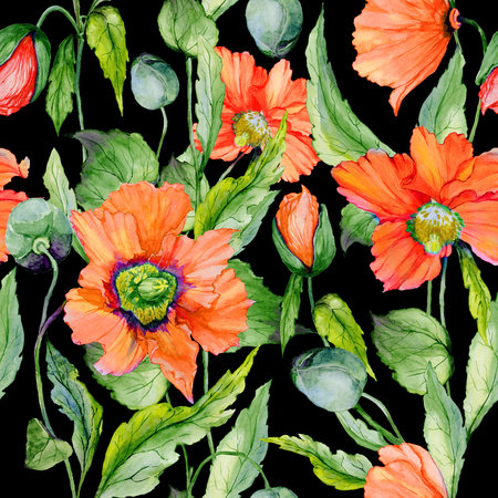 Beautiful red poppy flowers with green leaves on black background. Seamless floral pattern. Watercolor painting. Hand painted illustration. Fabric, wallpaper, wrapping paper design. Stock Photo
