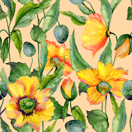 Beautiful orange and yellow welsh poppy flowers with green leaves on beige background. Seamless floral pattern. Watercolor painting. Hand painted illustration. Fabric, wallpaper design. Stock Photo