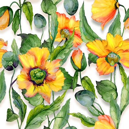 Beautiful orange welsh poppy flowers with green leaves on white background. Seamless floral pattern. Watercolor painting. Hand painted illustration. Fabric, wallpaper, wrapping paper design. Stock Photo