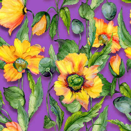 Beautiful orange welsh poppy flowers with green leaves on purple background. Seamless floral pattern. Watercolor painting. Hand painted illustration. Fabric, wallpaper, wrapping paper design.