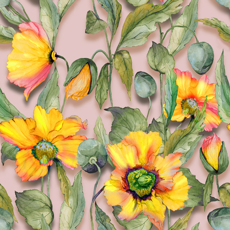 Beautiful orange welsh poppy flowers with green leaves on beige background. Seamless floral pattern. Watercolor painting. Hand painted illustration. Fabric, wallpaper, wrapping paper design.