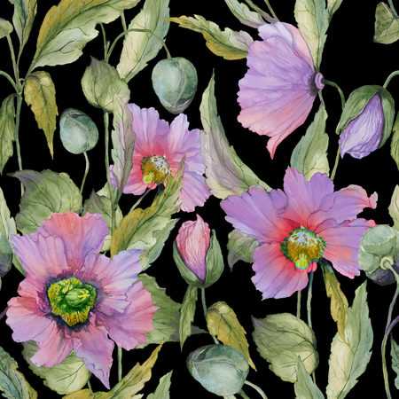 Beautiful lilac poppy flowers with green leaves on black background. Seamless floral pattern. Watercolor painting. Hand painted illustration. Fabric, wallpaper, wrapping paper design.