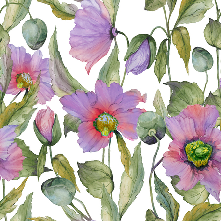 Beautiful lilac poppy flowers with green leaves on white background. Seamless floral pattern. Watercolor painting. Hand painted illustration. Fabric, wallpaper, wrapping paper design. Stock Photo