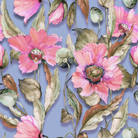 Beautiful pink poppy flowers on lilac background. Pastel colored seamless floral pattern. Watercolor painting. Hand painted illustration. Fabric, wallpaper, wrapping paper design. Stock Photo