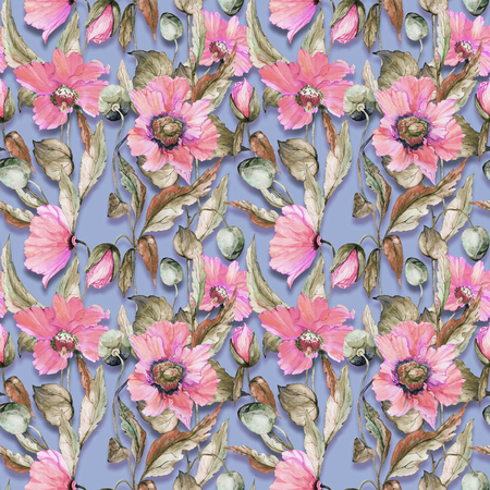 Beautiful pink poppy flowers leaves on gray background. Seamless floral pattern. Watercolor painting. Hand painted illustration. Fabric, wallpaper, wrapping paper design.
