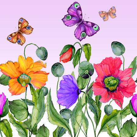 Vivid summer background. Beautiful colorful poppy flowers and flying butterflies on lilac background. Square shape. Seamless floral pattern. Watercolor painting. Hand painted illustration.  Stock Photo