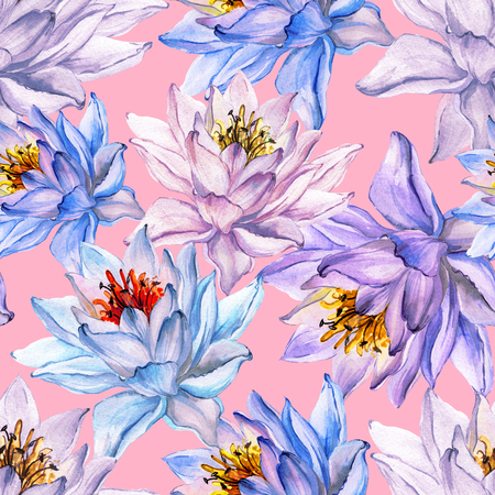 Beautiful tropical floral seamless pattern. Large blue and purple lotus flowers on pink background. Hand drawn illustration. Watercolor painting. Can be used as a design of textile or wallpaper.