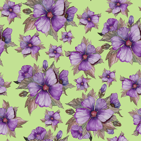 Light purple malva flowers with brown leaves on green background. Seamless floral pattern.  Watercolor painting. Hand drawn illustration. Can be used as for fabric, wallpaper, wrapping paper.