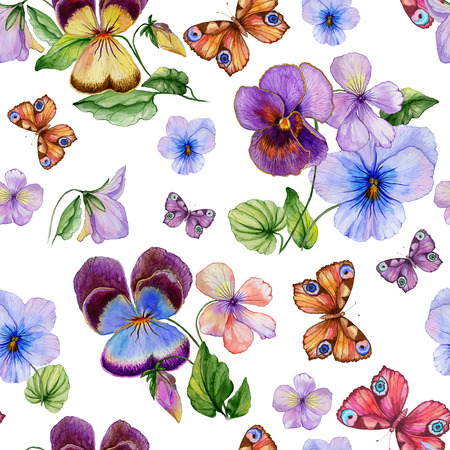 Beautiful vivid viola flowers leaves and bright butterflies on white background. Seamless spring or summer floral pattern. Watercolor painting. Hand painted illustration. Design of fabric, wallpaper.
