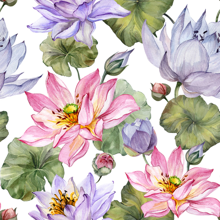 Beautiful floral seamless pattern. Large pink and purple lotus flowers with leaves on white  background. Hand drawn illustration. Watercolor painting. Design of textile or wallpaper. Stock Illustration - 98594753