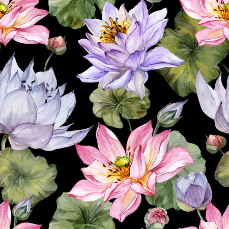 Large pink and purple lotus flowers with leaves on black background. Beautiful floral seamless pattern. Hand drawn botanical illustration. Watercolor painting. Design of textile or wallpaper. Stock Illustration - 98594754