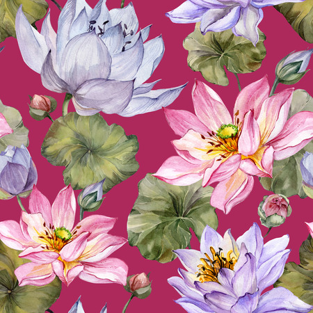 Beautiful floral seamless pattern. Large pink and purple lotus flowers with leaves on red  background. Hand drawn illustration. Watercolor painting. Design of textile or wallpaper.