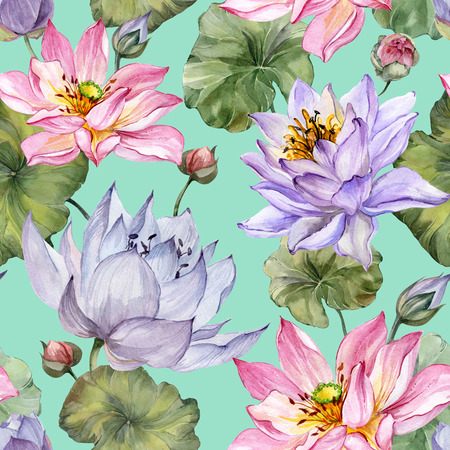 Beautiful floral seamless pattern. Large pink and purple lotus flowers with leaves on turquoise background. Hand drawn illustration. Watercolor painting. Design of textile or wallpaper.