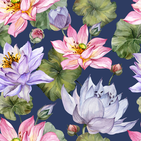 Beautiful bright floral seamless pattern. Purple and pink  lotus flowers with bid leaves on dark blue background. Hand drawn illustration. Watercolor painting. Design of textile or wallpaper.