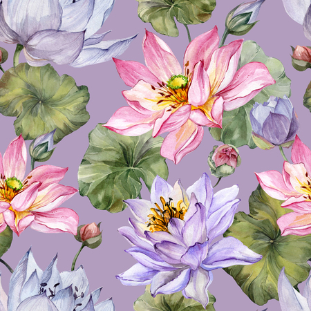 Exotic pink and purple lotus flowers with leaves on lilac  background. Beautiful floral seamless pattern. Hand drawn illustration. Watercolor painting. Design of textile or wallpaper.