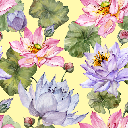 Beautiful floral seamless pattern. Large pink and purple lotus flowers with leaves on yellow background. Hand drawn illustration. Watercolor painting. Design of textile or wallpaper.