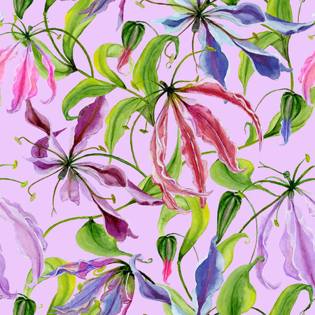 Beautiful gloriosa lily flowers with climbing leaves on pink background. Seamless floral pattern. Watercolor painting. Hand painted illustration. Fabric, wallpaper, wrapping paper design.