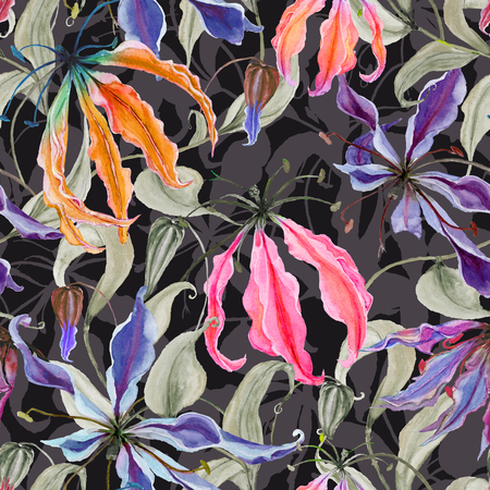Beautiful gloriosa lily flowers with climbing leaves on dark background. Seamless floral pattern. Watercolor painting. Hand painted illustration. Fabric, wallpaper, wrapping paper design.