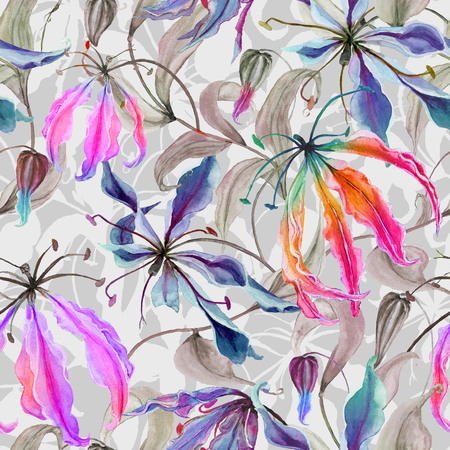 Beautiful gloriosa lily flowers with climbing leaves on gray background. Seamless floral pattern. Watercolor painting. Hand painted illustration. Fabric, wallpaper, wrapping paper design.