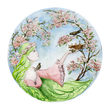Beautiful young woman with long green hair saves a baby bird that has fallen from the nest against spring trees in blossom. Seasonal watercolor illustration. Hand painted image. Round shape.