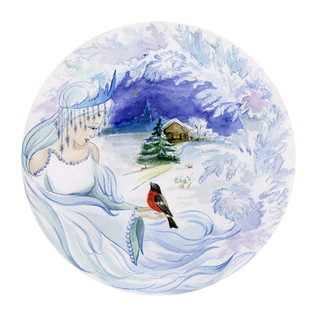 Beautiful young woman in a crown with a small bird in her hands against winter background. Concept of a girl as a winter. Seasonal watercolor illustration. Hand painted image. Round shape. Stock Photo