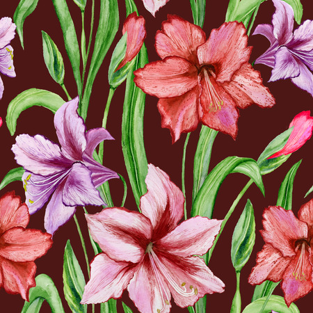 Beautiful colorful amaryllis flowers with green leaves on brown background. Seamless spring pattern. Watercolor painting. Hand painted floral illustration. Fabric, wallpaper design. Imagens