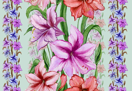Beautiful amaryllis flowers with leaves in straight lines on green background. Seamless floral pattern. Watercolor painting. Hand drawn and painted  illustration. Design of fabric, wallpaper.